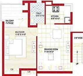 530 sqft, 1 bhk Apartment in Bajwa Paradise Apartments Sector 124 Mohali, Mohali at Rs. 17.0000 Lacs