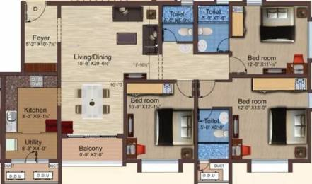 1565 sqft, 3 bhk Apartment in Baashyaam Pinnacle Crest Sholinganallur, Chennai at Rs. 1.5000 Cr