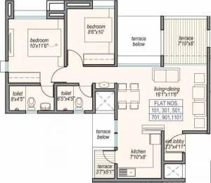 829 sqft, 2 bhk Apartment in Sampada Little Earth Masulkar City Mamurdi, Pune at Rs. 11500