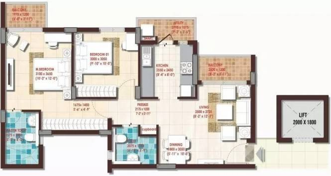 920 sqft, 2 bhk Apartment in DLF Woodland Heights at My Town Jigani, Bangalore at Rs. 11000