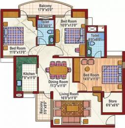 1415 sqft, 3 bhk Apartment in Purvanchal Silver City Sector 93, Noida at Rs. 95.0000 Lacs