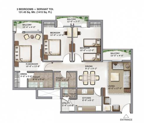 1415 sqft, 3 bhk Apartment in 3C Lotus Zing Sector 168, Noida at Rs. 66.5050 Lacs