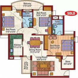 1440 sqft, 3 bhk Apartment in Purvanchal Silver City 2 PI, Greater Noida at Rs. 75.0000 Lacs