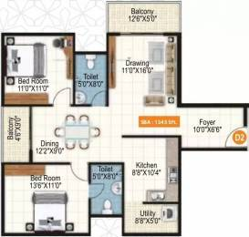 1345 sqft, 2 bhk Apartment in Purvi Symphony Varthur, Bangalore at Rs. 69.2480 Lacs