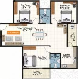 1550 sqft, 3 bhk Apartment in Purvi Symphony Varthur, Bangalore at Rs. 71.9370 Lacs