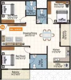 1650 sqft, 3 bhk Apartment in Purvi Symphony Varthur, Bangalore at Rs. 83.5542 Lacs