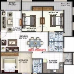 1708 sqft, 3 bhk Apartment in Mahaveer Meridian JP Nagar Phase 8, Bangalore at Rs. 94.0000 Lacs