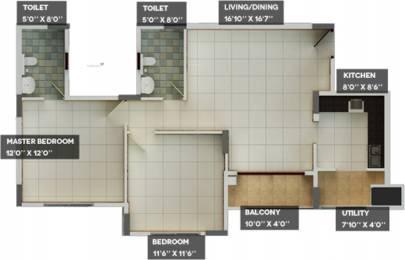 1093 sqft, 2 bhk Apartment in Builder Puravankara Skyworth Derebail, Mangalore at Rs. 60.7100 Lacs