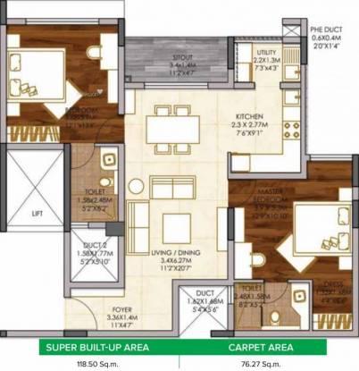 1397 sqft, 2 bhk Apartment in Brigade Woods ITPL, Bangalore at Rs. 92.0000 Lacs