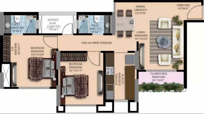 1087 sqft, 2 bhk Apartment in Nahar Water Lily And White Lily Powai, Mumbai at Rs. 62000