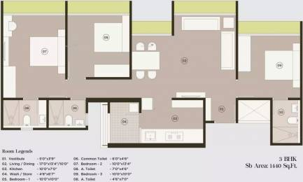 1440 sqft, 3 bhk Apartment in Saanvi Sky Sol Bopal, Ahmedabad at Rs. 48.5000 Lacs