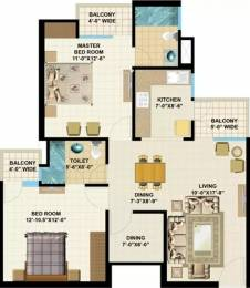 1115 sqft, 2 bhk Apartment in Jaipuria Goldstar Homes Vrindavan Yojna, Lucknow at Rs. 15500