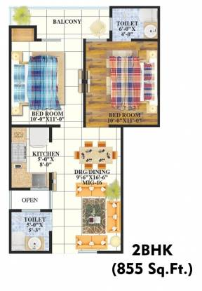 855 sqft, 2 bhk Apartment in Unione Unione Residency Pratap Vihar, Ghaziabad at Rs. 16.0000 Lacs