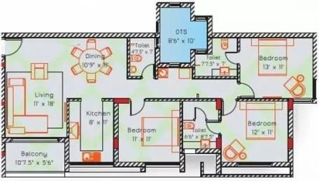 1519 sqft, 3 bhk Apartment in Appaswamy Cityside Perungudi, Chennai at Rs. 33000