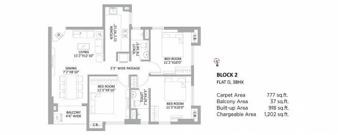 1202 sqft, 3 bhk Apartment in PS Amistad New Town, Kolkata at Rs. 68.0000 Lacs