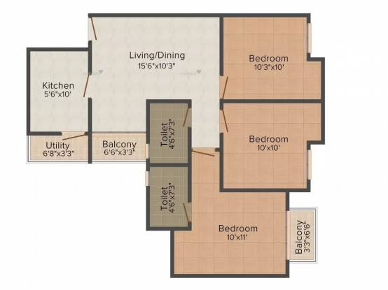 1130 sqft, 3 bhk Apartment in Paras Seasons Sector 168, Noida at Rs. 56.5000 Lacs