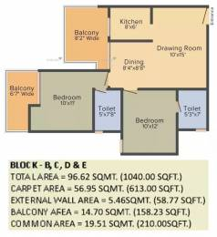 1040 sqft, 2 bhk Apartment in Gaursons Atulyam Omicron, Greater Noida at Rs. 38.0000 Lacs
