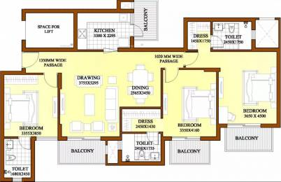 1800 sqft, 3 bhk Apartment in ATS Dolce Zeta, Greater Noida at Rs. 18000