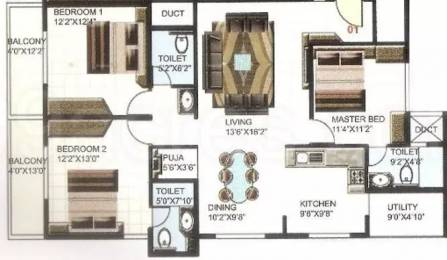 1540 sqft, 3 bhk Apartment in PNR Silver Strings HSR Layout, Bangalore at Rs. 31000