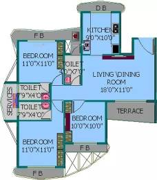 1435 sqft, 3 bhk Apartment in EV Zion I Seawoods, Mumbai at Rs. 36000