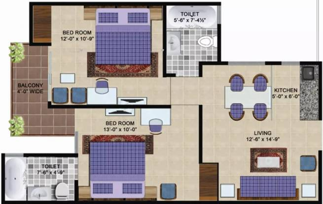 827 sqft, 2 bhk Apartment in Express Hare Krishna Orchid Vrindavan, Mathura at Rs. 16000