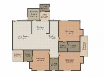 1719 sqft, 3 bhk Apartment in Astha Retreat Vrindavan Yojna, Lucknow at Rs. 25000