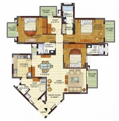 2762 sqft, 3 bhk Apartment in BPTP Freedom Park Life Sector 57, Gurgaon at Rs. 52000