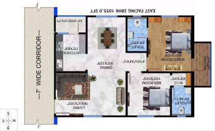1055 sqft, 2 bhk Apartment in Builder Project Pragathi Nagar, Hyderabad at Rs. 27.4300 Lacs
