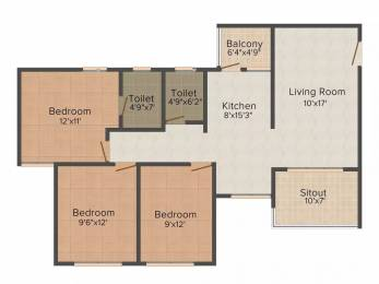 1135 sqft, 3 bhk Apartment in Jaikumar Parksyde Residences Indira Nagar, Nashik at Rs. 14000