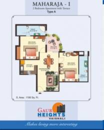 1060 sqft, 2 bhk Apartment in Gaursons Heights Sector 4 Vaishali, Ghaziabad at Rs. 66.0000 Lacs