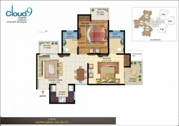 900 sqft, 2 bhk Apartment in Rishabh Cloud 9 Skylish Towers Shakti Khand, Ghaziabad at Rs. 43.0000 Lacs