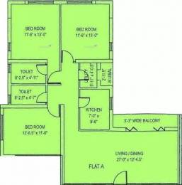 1643 sqft, 3 bhk Apartment in Diamond City South Tollygunge, Kolkata at Rs. 34000