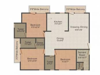 1840 sqft, 3 bhk Apartment in Gandharva Imperial Crest Vrindavan Yojna, Lucknow at Rs. 12500