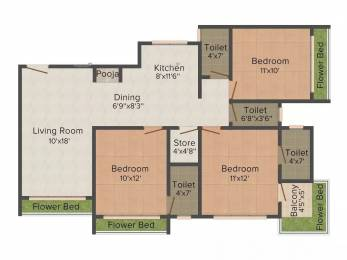1612 sqft, 3 bhk Apartment in Happy Home Nakshatra View Pal Gam, Surat at Rs. 48.0000 Lacs