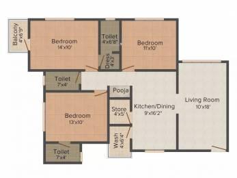 1609 sqft, 3 bhk Apartment in Happy Home Nakshatra Nebula Palanpur, Surat at Rs. 50.2100 Lacs