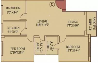 1281 sqft, 3 bhk Apartment in Daffodil Duke Residency Tollygunge, Kolkata at Rs. 1.0500 Cr