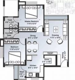 1170 sqft, 2 bhk Apartment in Bsafal Parisar Bopal, Ahmedabad at Rs. 22000