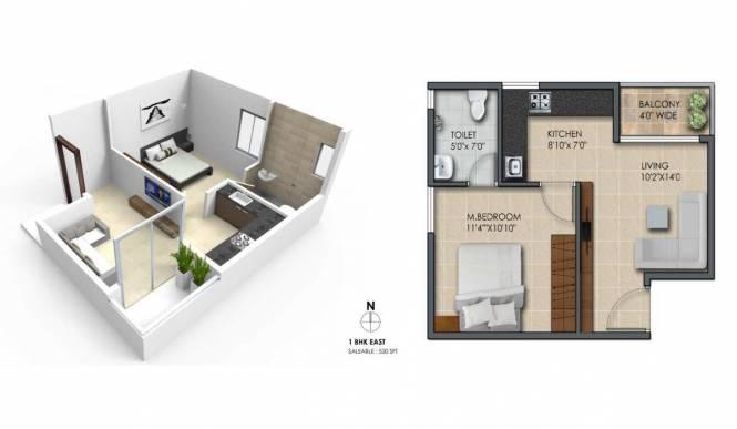 520 sqft, 1 bhk Apartment in Subha 9 Sky Vue Anekal City, Bangalore at Rs. 20.6000 Lacs