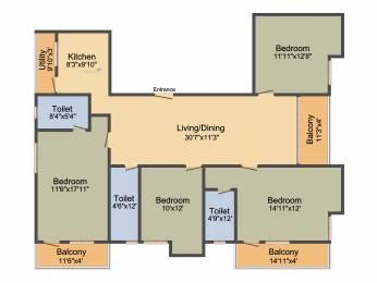 1553 sqft, 4 bhk Apartment in Merlin Verve Tollygunge, Kolkata at Rs. 0
