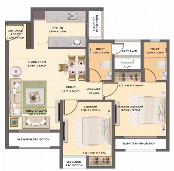 595.03 sqft, 2 bhk Apartment in Dosti West County Oak Thane West, Mumbai at Rs. 0