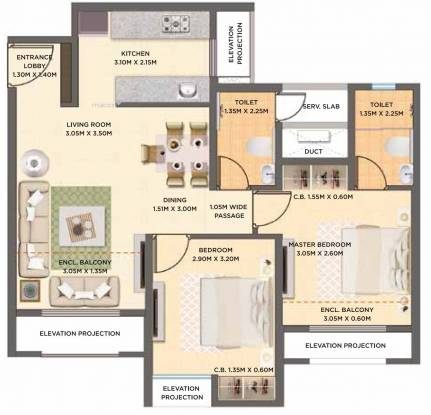 575.33 sqft, 2 bhk Apartment in Dosti West County Oak Thane West, Mumbai at Rs. 0