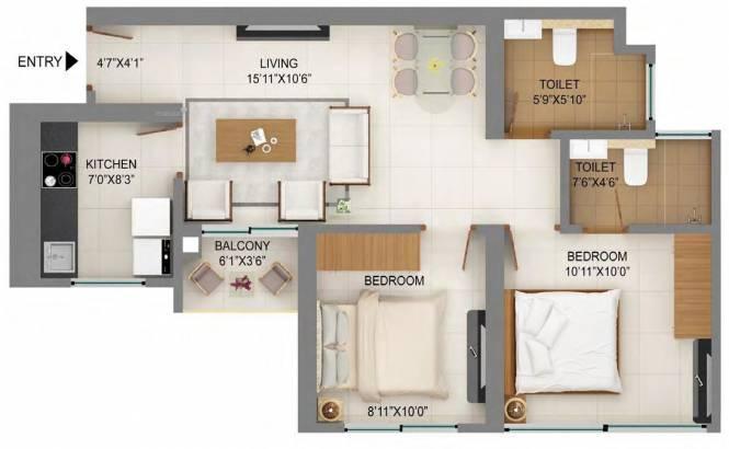 578.63 sqft, 2 bhk Apartment in Shapoorji Pallonji Mumbai Dreams Mulund West, Mumbai at Rs. 0