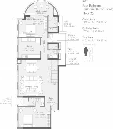 1978.73 sqft, 4 bhk Apartment in Godrej Platinum Wing B4 Vikhroli, Mumbai at Rs. 0