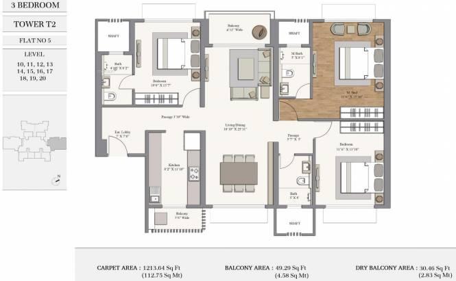 1213.63 sqft, 3 bhk Apartment in Piramal Revanta Tower 2 Mulund West, Mumbai at Rs. 0