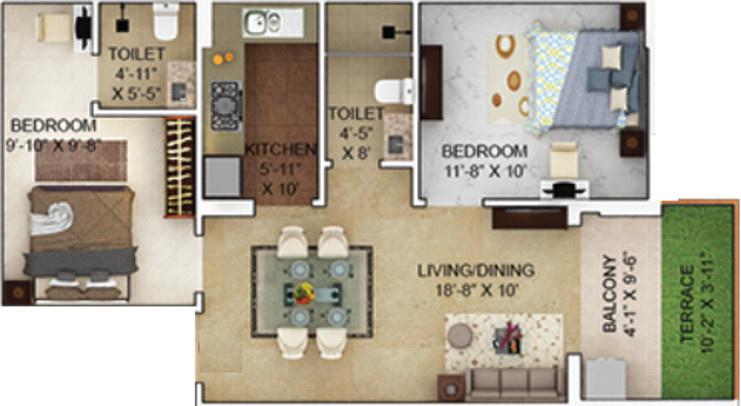 928 sqft, 2 bhk Apartment in Merlin Verve Tollygunge, Kolkata at Rs. 0