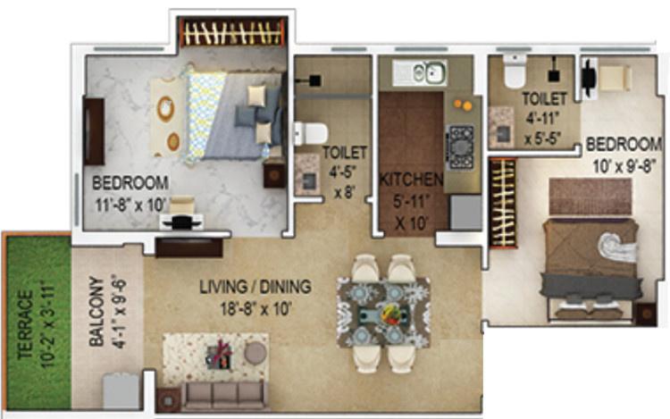939 sqft, 2 bhk Apartment in Merlin Verve Tollygunge, Kolkata at Rs. 0