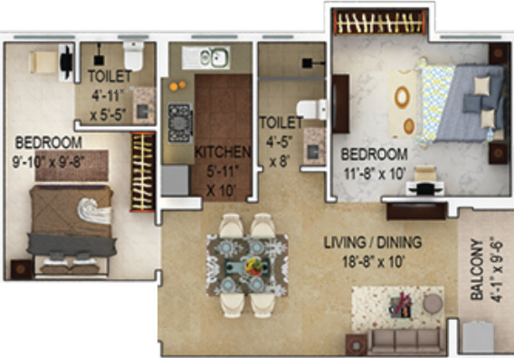 1340 sqft, 2 bhk Apartment in Merlin Verve Tollygunge, Kolkata at Rs. 0