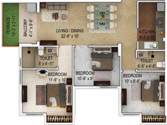 1184 sqft, 3 bhk Apartment in Merlin Verve Tollygunge, Kolkata at Rs. 0