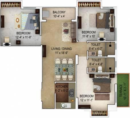 1344 sqft, 3 bhk Apartment in Merlin Verve Tollygunge, Kolkata at Rs. 0