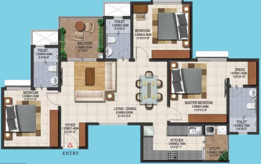 1500 sqft, 3 bhk Apartment in Provident Adora De Goa 1 Balinese Residences Vasco Da Gama, Goa at Rs. 0